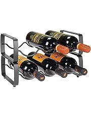 mDesign Metal Steel Free-Standing 12 Bottle Modular Wine Rack Storage Organizer for Kitchen Countertop, Table Top, Pantry, Fridge - Holder for Wine, Beer, Pop/Soda, Water, Stackable - Chrome