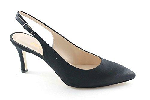 Satén MELLUSO D075 zapatos negros de la correa del dedo del pie escándalo de mujer de tacón Nero