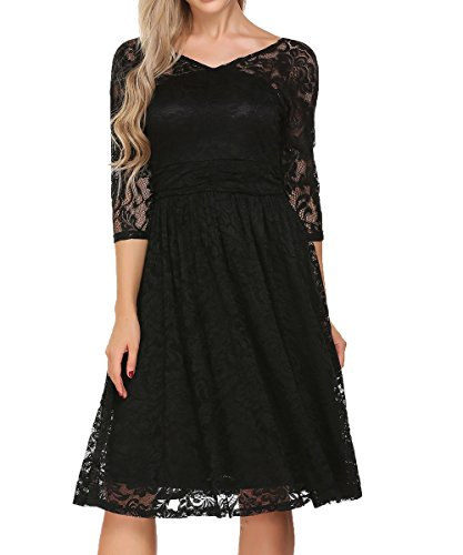 ACEVOG Women's Vintage Lace Dress Bridal Formal Skater Dress Wedding Party,Black,M