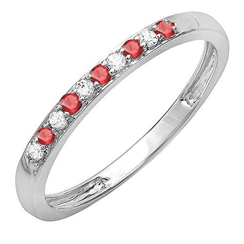- 10K White Gold Round Ruby & White Diamond Ladies Wedding Band Ring (Size 7)