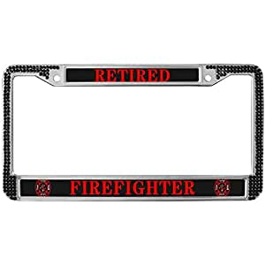 Amazon Com Retired Firefighter Bling Crystal Auto License