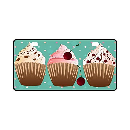 FunnyframeABC Car License Plate Holders, Sweet Cupcakes Desserts with Polka Dots Automotive,Auto Metal Car Bumper Accessories Tag Cover