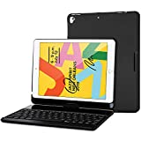 ProCase iPad 7th Generation Case with Keyboard - iPad 10.2 2019 Keyboard Case with 360 Degree Rotation Protective Smart Cover Case with Wireless Keyboard - 7 Colors Backlight-Black