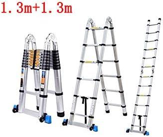FLYSXP Escalera telescópica Escalera Multifuncional Proyecto de Plegado Interior Subida y Bajada en Espiga Escalera Doble Recta Engrosamiento de Aluminio Taburete Plegable (Size : 1.3m+1.3m): Amazon.es: Hogar