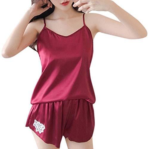 Dressin Womens Lingeire Satin Lace Bra Cropped Top Shorts Babydoll Underwear Sleepwear Pajama Set ()