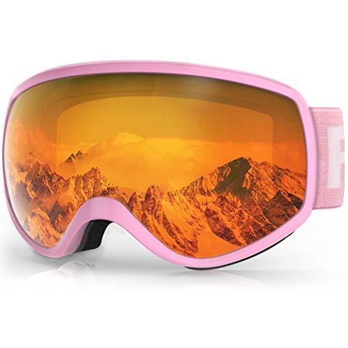 findway Masque de Ski Enfant 3 à 8 Ans – Lunettes de Ski Enfant Masuqe Ski pour Garçon et Fille Anti-UV Antibuée Compatible avec Casque pour Ski Snowboard Autres Sports Hiver
