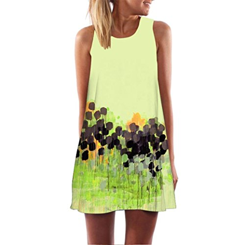 Price comparison product image Clearance ! Auwer Vintage Boho Beach Dress,  Women Loose Summer Sleeveless 3D Floral Print Bohe Tank Mini Dress (S,  Yellow 1)