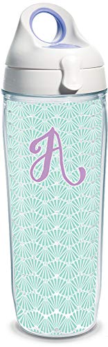Tervis 1316175 INITIAL-A Teal Scallop Insulated Tumbler with Wrap and Lid, 24 oz Water Bottle - Tritan, Clear ()