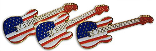 Novel Merk Patriotic Guitar American Flag 3-Piece Lapel or Hat Pin and Tie Tack Set with Clutch - Pin Guitar Lapel