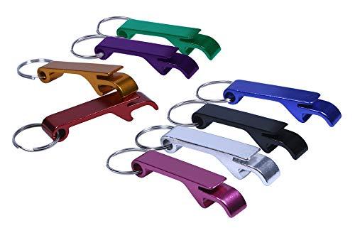 Shapenty 8 Colored Pocket Aluminum Metal Split Key Ring Chain Keychain Claw Bar Soda Beverage Beer Bottle Opener Wedding Party Favor Gift Set, 8 Pieces/Box