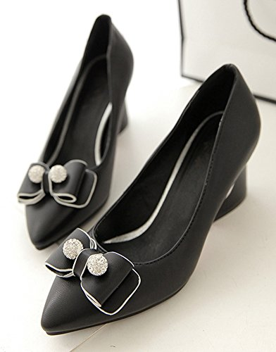 Aisun Bout Noir Pointu Femme Strass Mode Escarpins 8Yq8twr