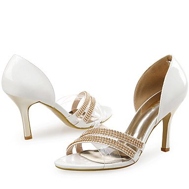LvYuan Mujer-Tacón Stiletto-Zapatos del club-Sandalias-Boda Vestido Fiesta y Noche-Sintético Purpurina Tejido-Blanco White