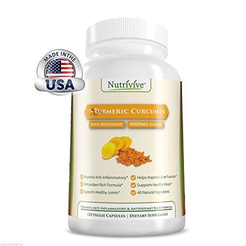Nutrivive Turmeric Curcumin with Bioperine, 120 Veggie Capsules