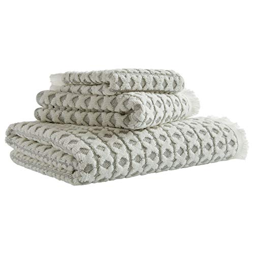 Stone & Beam Casual Sculpted Criss Cross Cotton Bath Towels, Set of 3, Charcoal