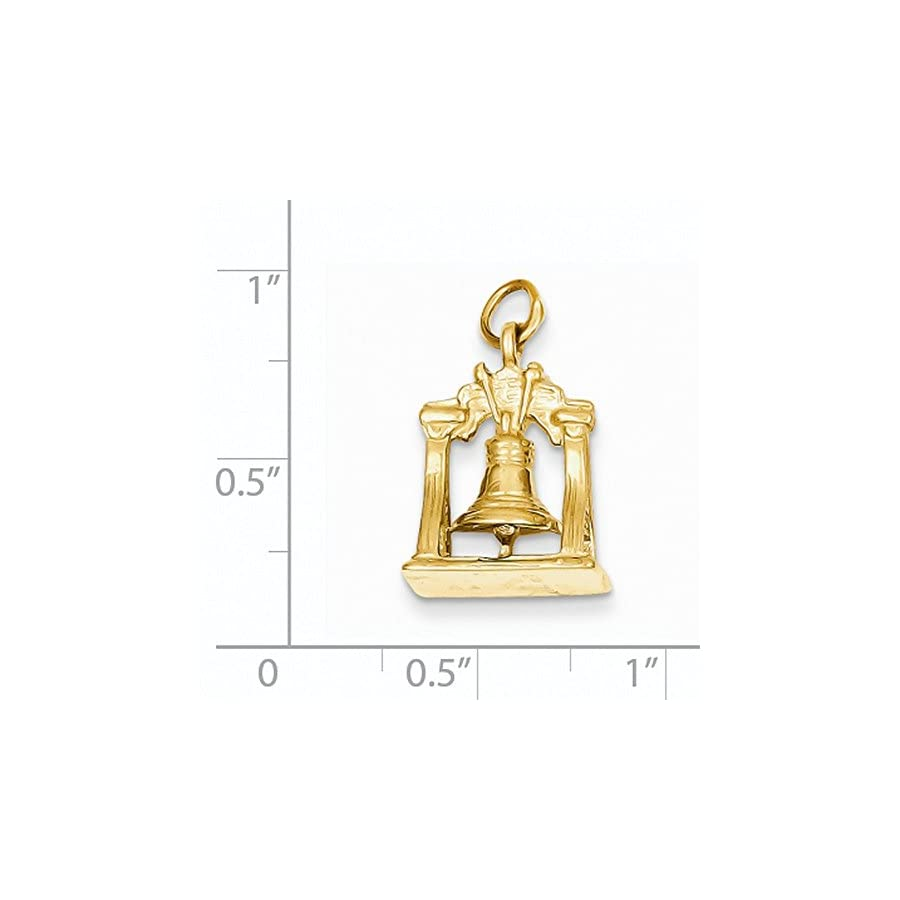 14K Yellow Gold Solid 3D Liberty Bell Charm 21x13mm