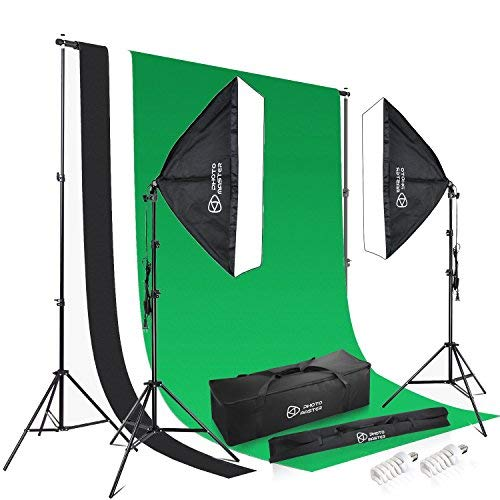 Photo Master Background Support System and 1350W 5500K Softbox Soft Box Continuous Lighting Kit 1.8m x 2.8m/5.9ft x 9.2ft White Black Green Muslin Cotton Chromakey Backdrop for Photo Studio Product from PHOTO MASTER