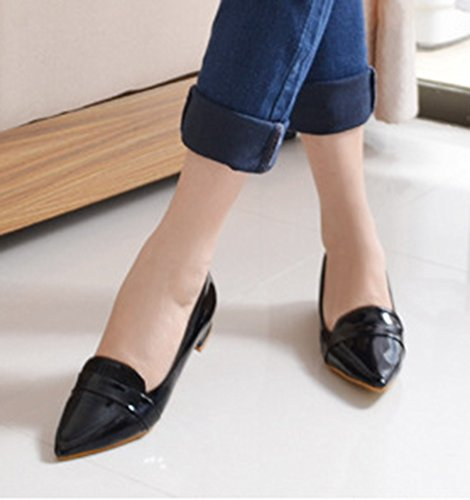 Aisun Womens Simple Comfy Patent Leather Slip On Pointy Toe Flat Loafers Shoes Black iqUfZWd5