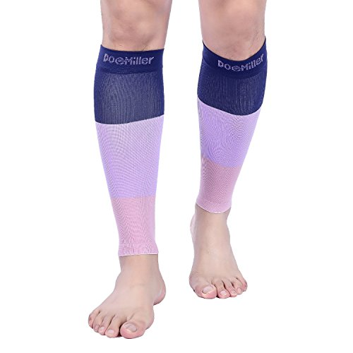 Doc Miller Premium Calf Compression Sleeve 1 Pair 15-20mmHg Strong Support Graduated Sock Pressure Sports Running Recovery Shin Splints Varicose Veins (BlueLilacMauve, 3X-Large)
