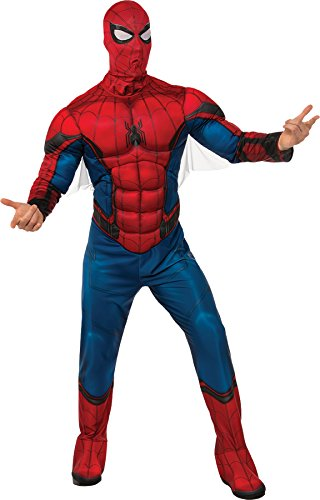 [UHC Men's Marvel Comics Spiderman Padded Jumpsuit Movie Theme Halloween Costume, XL (44-46)] (Spiderman Outfit Adult)