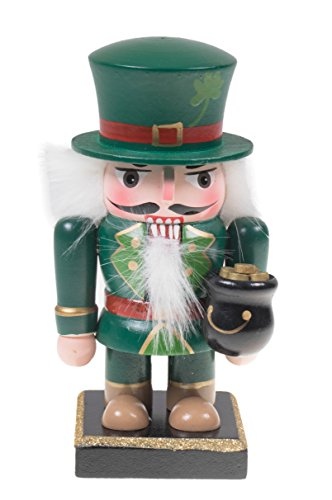 ditional Wooden Chubby Leprechaun Nutcracker Festive Christmas Decor | Green Outfit with Pot of Gold | Perfect for Shelves and Tables 100% Wood | 6.5