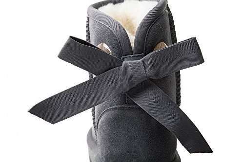 nbsp;Lining BalaMasa Boots Velvet Bows Gray Toe nbsp; Round Suede Womens qPa6v