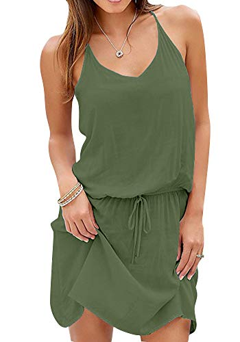 (Poulax Women's Summer Casual Elastic Waist Dress Beach Cover Up Spaghetti Strap Knee Length Dresses with Pockets,Green)