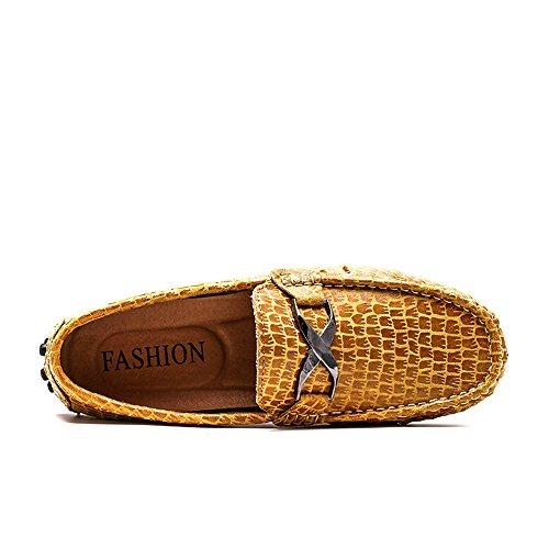 opzionale Mocassini 37 da EU Mocassini caldo Color Xiazhi Marrone Casual Metallo Faux fibbia Alligator Business Dimensione Texture uomo shoes Dress 17Uwpxq6