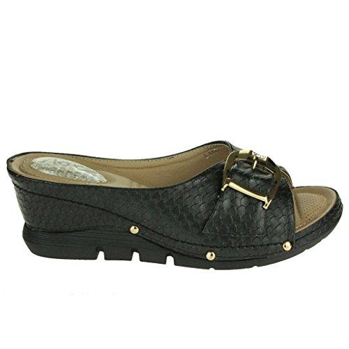 Mujer Señoras Acolchado Comfort Absorción de impactos Flexible Masaje Casual Ponerse Tacón de cuña Sandalias Zapatos Talla Negro