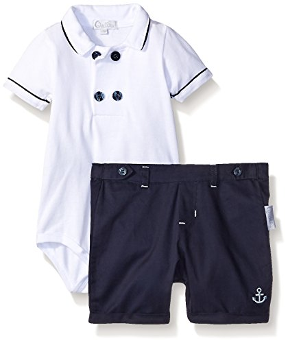 Quiltex Boys' Cotton Pique Creeper with Corded Piping Top with Brushed Cotton Shorts with Cuffs, Navy, 3/6