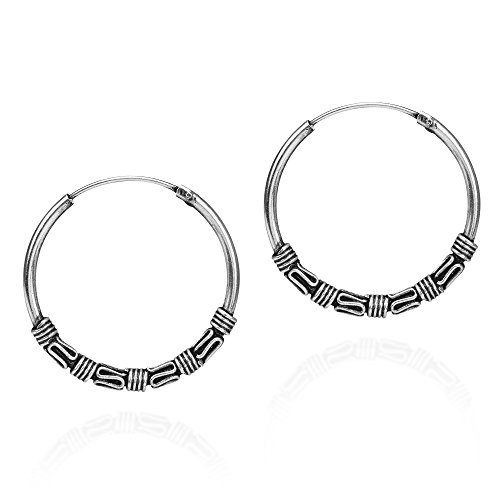 Interlace Balinese Tribal Sterling Silver 24 mm Pierced Hoop Earrings
