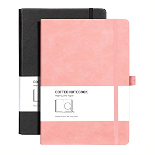 Black Pink Dot Grid Hard Cover Notebook with 320 Pages,120gsm Thick Paper,8 Perforated Sheets,Smooth PU Leather,Inner Pocket,5.75 × 8.38 RETTACY Dotted Bullet Grid Journal 2 Pack