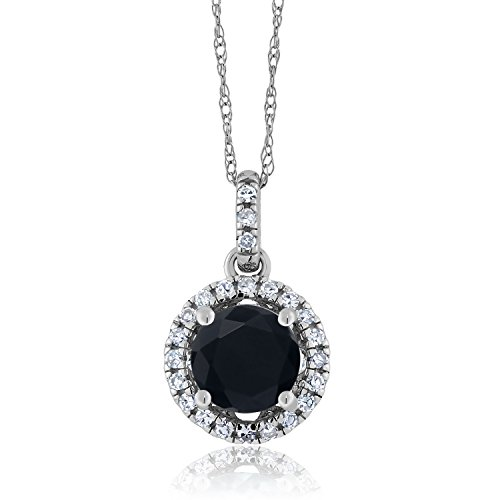 (Gem Stone King 0.87 Ct Round Black Onyx White Diamond 14K White Gold Pendant)