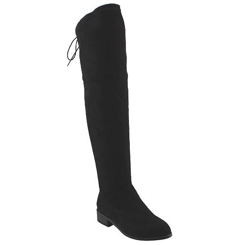 BESTON FD97 Women's Stretchy Over The Knee Block Heel Dress Boot, Color Black, Size:8.5
