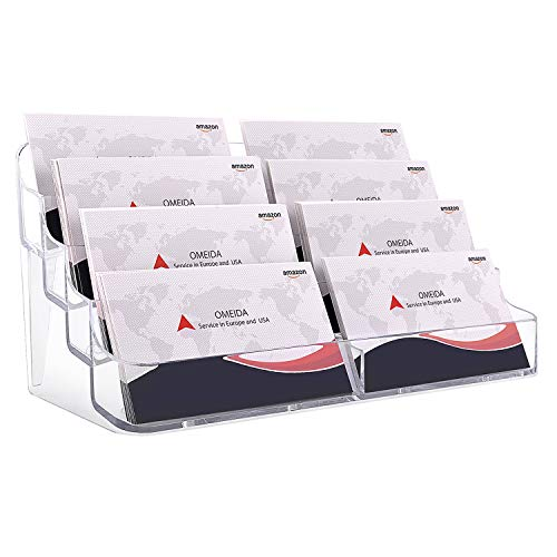 MaxGear Acrylic Business Card Holder for Desk Business Card Holders, Business Card Stand Business Card Display Holder Clear Business Card Holder Display, Plastic Business Card Holder Office, 8 Pocket