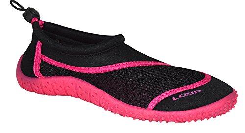 LOAP® HANK Zapatos de Agua | Hombres | Señoras | Adolescentes | 36-46 | Aqua Shoes | Neopreno | Zapatos de la playa | Calzado de playa | Protección | Verde | Rosa | Negro Negro / color de rosa