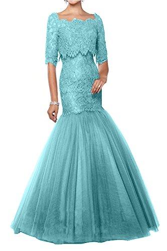 Hell Blau Glamour Marie La mit Bolero Abendkleider Braut Brautmutterkleider Lila Langes Spitze Ballkleider Langarm CqOx7OEd