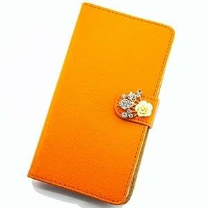 Portatil Style Design-Funda con función atril y brillantes flores applikation Flip Cover Carcasa Funda Case Modern Bag para Sony Xperia Z2en Color Naranja