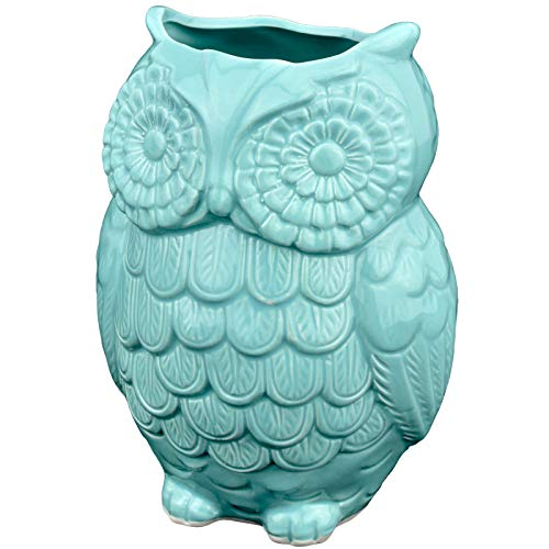 MyGift Aqua Blue Owl Design Ceramic Cooking Utensil Holder/Multipurpose Kitchen Storage Crock