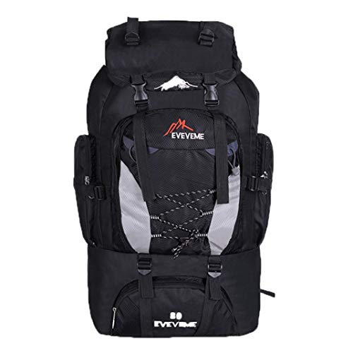 piRA8, Backpack, Camping & Hiking, 80L Large Capacity Outdoor Sport Camping Hiking Waterproof Rucksack Bag - Black For Outdoor, Travel, Riding, (Verpackung Camping Liste)