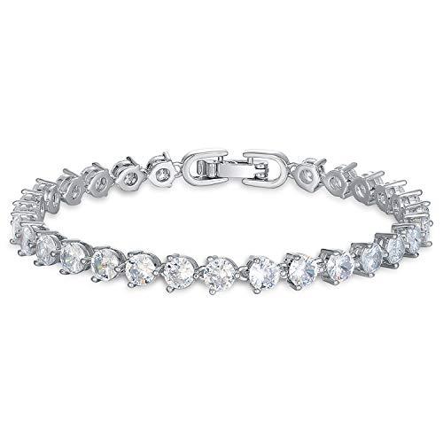 EEPIRR Hypoallergenic 5mm AAA+ CubicZirconia Tennis Bracelet18k WhiteGoldPlatesFriendship CZ Bracelets Gift forWomen CrystalJewelry