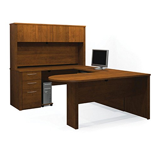 Brown Tuscany Executive Desk - Bestar Executive U-Shaped Workstation in Tuscany Brown