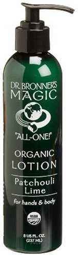 Dr. Bronner's & All-One Organic Lotion for Hands & Body, Patchouli Lime, 8-Ounce Pump Bottles (Pack of (Bronners Sundogs Magic)