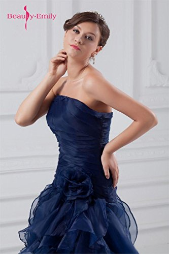 Beauty-Emily Maxi Tulle Sleeveless Ruching Pleat Flower Zipper Christmas Gifts Night Evening Dresses Color Dark Blue,Size US20W by Beauty-Emily (Image #4)