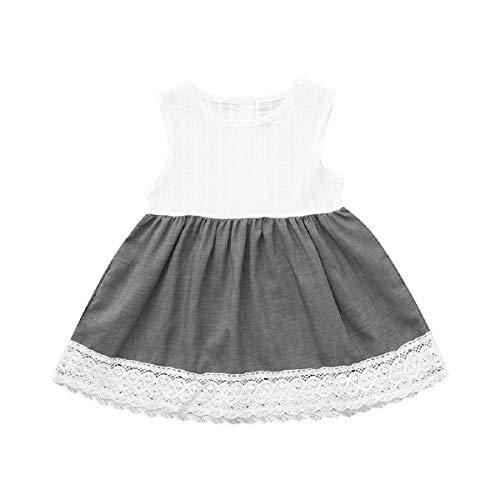 OTINICE Cute Baby Girls Sleeveless Dress Princess Lace Ruffles Dress Sundress ()