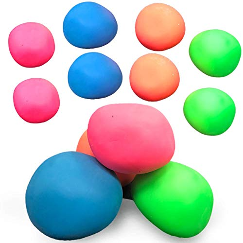 Kicko Sensory Stretch Bounce Ball, Stress Squishy Therapy Ball - Pack of 4 Cool and Fun Assorted Colors Therapeutic Stress Reliever Ball - Novelty and Gag Toys, Party Favor, Bag Stuffer, Gifts