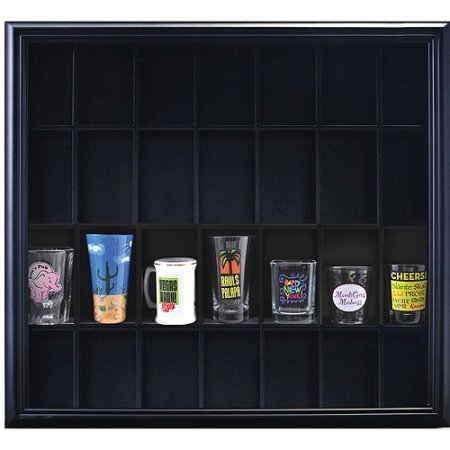 - Pinnacle Frame Shot Glass Case, Holds Up to 28 Shot Glasses or Other Collection Pieces, Black