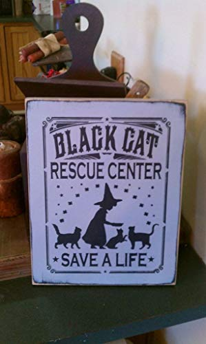 Adonis554Dan Black Cat Rescue Center HandPrinted Primitive Wicca Wood Sign Halloween Fall 2014