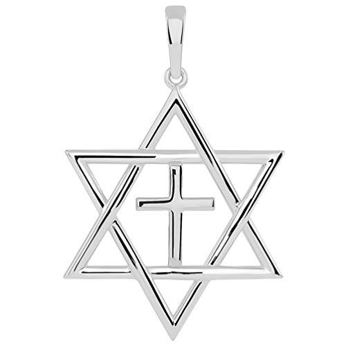 14k White Gold Jewish Star of David with Religious Cross Judeo Christian Pendant (Medium) (Religious Jewish Pendant Gold White)