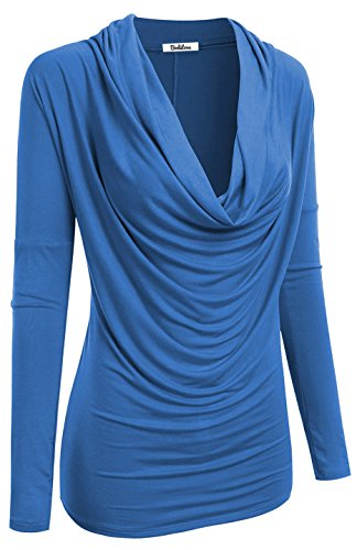 2LUV Women's 3/4 Sleeve Cowl Neck Draped Blouse Top Blue M (Outfits For Tweens)