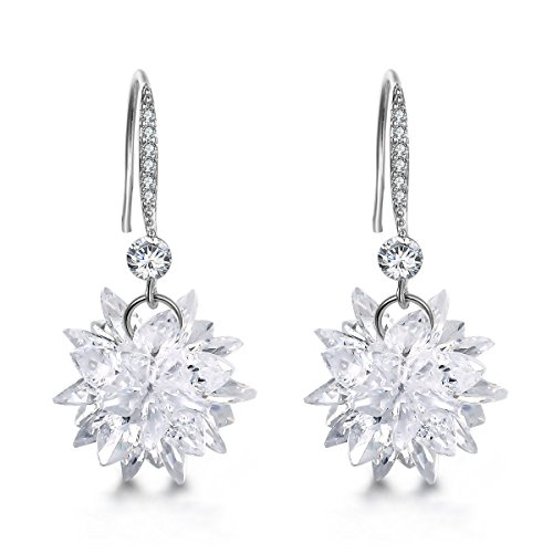 Valentines Gifts Mocalady Jewelers Dangle Earrings With Crystal Cubic Zirconia Winter Snowflake Drop Earrings Fashion Jewelry Christmas Gift for Women (Cubic Zirconia Star Dangle)